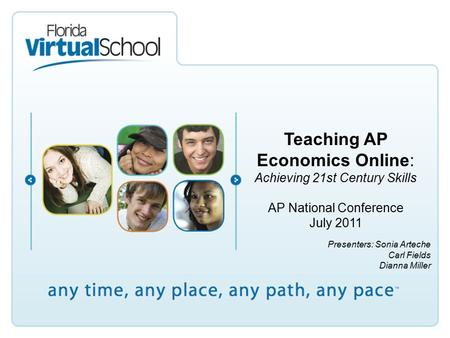 Teaching AP Economics Online: Achieving 21st Century <strong>Skills</strong> AP National Conference July 2011 Presenters: Sonia Arteche Carl Fields Dianna Miller.