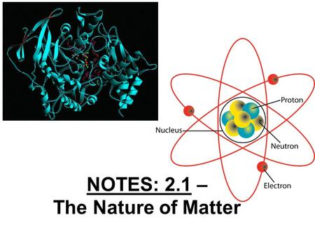 NOTES: 2.1 – The Nature of Matter. Key Questions: Identify the three subatomic particles found in atoms. Explain how all of the isotopes of an element.