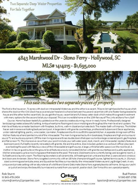 Two Separate Deep Water Properties For Sale Together The first is the house on.71 acres with dock on Intracoastal Waterway and the other is a vacant.78.