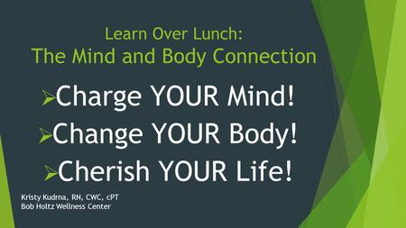 Learn Over Lunch: The Mind and Body Connection  Charge YOUR Mind!  Change YOUR Body!  Cherish YOUR Life! Kristy Kudrna, RN, CWC, cPT Bob Holtz Wellness.