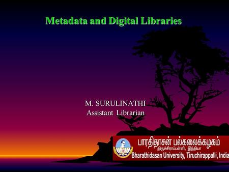 Metadata and Digital Libraries M. SURULINATHI Assistant Librarian.