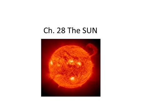 Ch. 28 The SUN. 28.1 The Structure of the Sun 3 Parts 1.Core 2.Inner Zones Radiative Zone Convective Zone 3.Atmosphere.