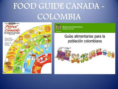 FOOD GUIDE CANADA - COLOMBIA. COLOMBIA FOOD GROUP 1. Cereals, tubers, bananas 2. Leafy vegetable and legumes 3.fruits 4. Meats, eggs, dried legumes, vegetable.