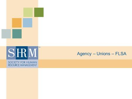 "Agency – Unions – FLSA. ©SHRM 2008 Agency Law Employment law based on ""master/servant"" relationship. The ""master"" is responsible for the ""servant"". Vicarious."