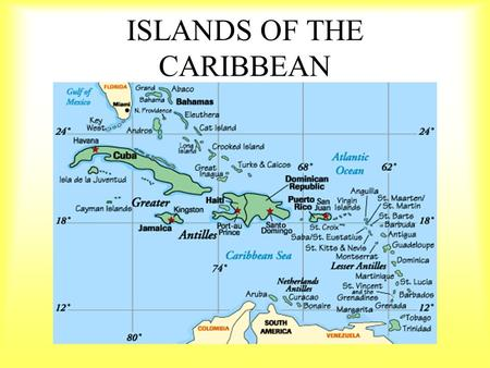 ISLANDS OF THE CARIBBEAN. The islands were formed from underwater mountains and coral. Coral Reefs around the world.