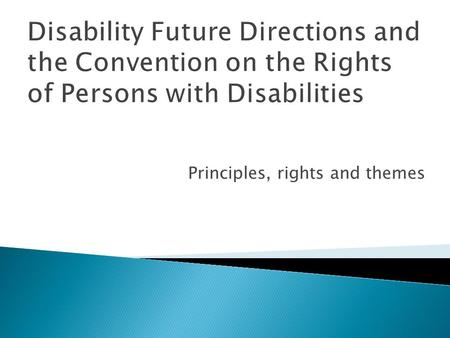 Disability Future Directions and the Convention on the Rights of Persons with Disabilities Principles, rights and themes.