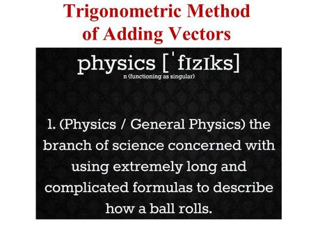 Trigonometric Method of Adding Vectors. Analytic Method of Addition Resolution of vectors into components: YOU MUST KNOW & UNDERSTAND TRIGONOMETERY TO.
