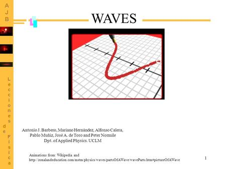 1 Animations from: Wikipedia and  WAVES Antonio J. Barbero, Mariano.