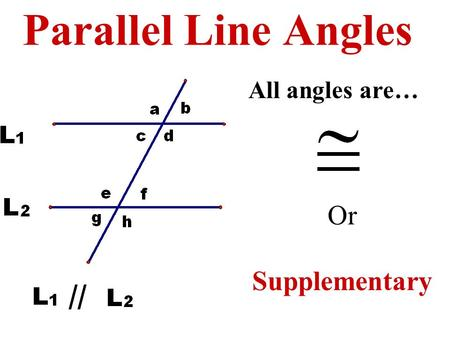 Parallel Line Angles Or Supplementary All angles are…