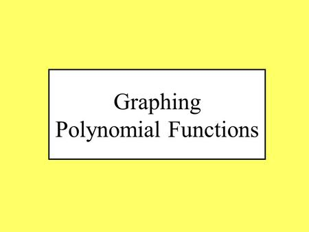 Graphing Polynomial Functions. Finding the End Behavior of a function Degree Leading Coefficient Graph Comparison End Behavior As x  – , Rise right.