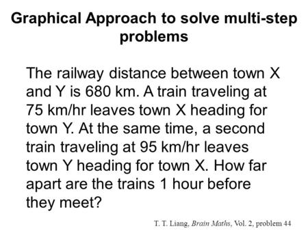 Graphical Approach to solve multi-step problems T. T. Liang, Brain Maths, Vol. 2, problem 44 The railway distance between town X and Y is 680 km. A train.
