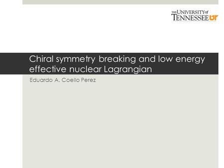 Chiral symmetry breaking and low energy effective nuclear Lagrangian Eduardo A. Coello Perez.