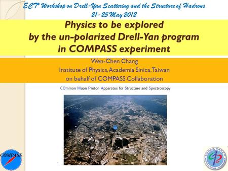 Physics to be explored by the un-polarized Drell-Yan program in COMPASS experiment Wen-Chen Chang Institute of Physics, Academia Sinica, Taiwan on behalf.