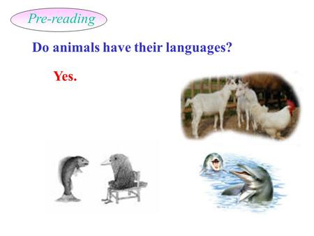 Do animals have their languages? Yes. Pre-reading.