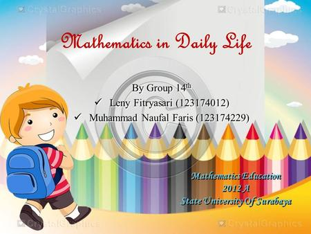 Mathematics Education 2012 A State University Of Surabaya By Group 14 th Leny Fitryasari (123174012) Muhammad Naufal Faris (123174229) By Group 14 th Leny.