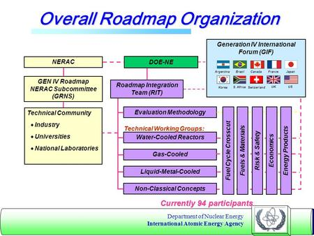 Department of Nuclear Energy International Atomic Energy Agency Overall Roadmap Organization NERAC GEN IV Roadmap NERAC Subcommittee (GRNS) Technical Community.