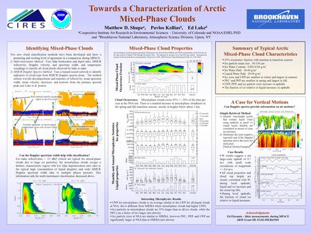 Towards a Characterization of Arctic Mixed-Phase Clouds Matthew D. Shupe a, Pavlos Kollias b, Ed Luke b a Cooperative Institute for Research in Environmental.
