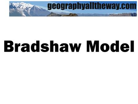 Bradshaw Model. Upstream Downstream Discharge Occupied channel width Channel depth Average velocity Load quantity Load particle size Channel bed roughness.