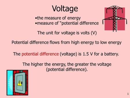 The higher the energy, the greater the voltage (potential difference).