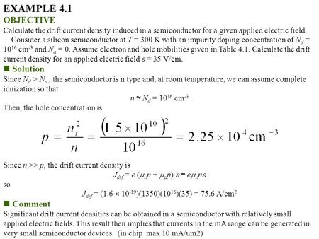 EXAMPLE 4.1 OBJECTIVE Solution Comment