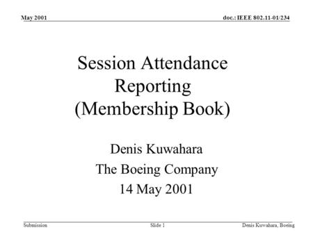 Doc.: IEEE 802.11-01/234 Submission May 2001 Denis Kuwahara, BoeingSlide 1 Session Attendance Reporting (Membership Book) Denis Kuwahara The Boeing Company.