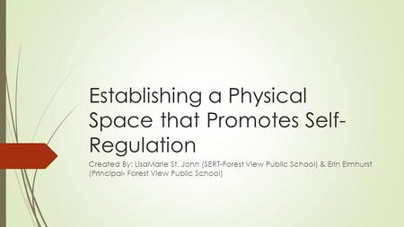 Establishing a Physical Space that Promotes Self- Regulation Created By: LisaMarie St. John (SERT-Forest View Public School) & Erin Elmhurst (Principal-