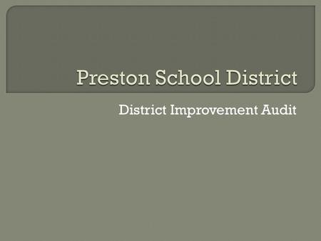 "District Improvement Audit.  Almost everyone talked about ""caring staff""; ""dedicated to students""; ""high degree of willingness""; and ""positive attitudes."