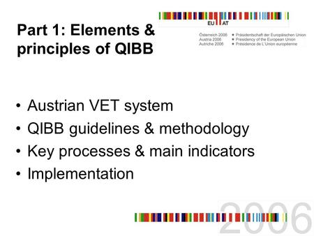 Quality Assurance in HE and VET 11-12 May, 2006 Graz Workshop 7 QIBB – Qualitätsinitiative Berufsbildung The Austrian Approach to Quality in VET Part 1: