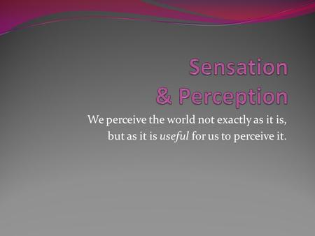 We perceive the world not exactly as it is, but as it is useful for us to perceive it.
