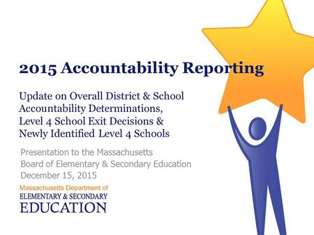 2015 Accountability Reporting Presentation to the Massachusetts Board of Elementary & Secondary Education December 15, 2015 Update on Overall District.