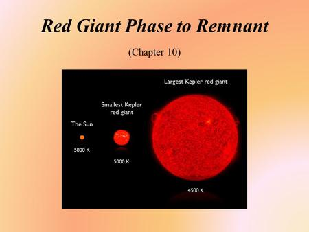 Red Giant Phase to Remnant (Chapter 10). Student Learning Objective Describe or diagram the evolutionary phases from the beginning of stellar formation.