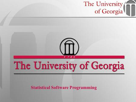 1 Statistical Software Programming. STAT 6360 –Statistical Software Programming SAS Graphics SAS has two main facilities for producing graphics: 1.ODS.
