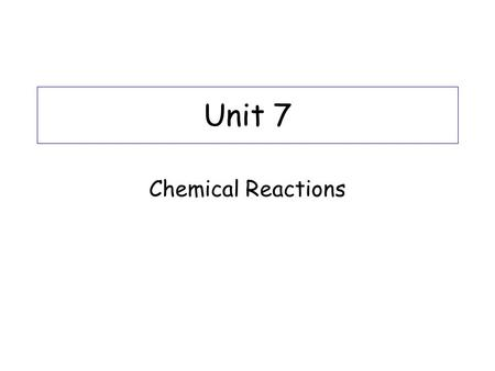 Unit 7 Chemical Reactions. Physical Vs. Chemical Change Physical changes= changes in form (phase), but not the identity of the substance ex: H 2 O (s)