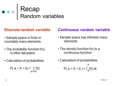 Lecture 3 1 Recap Random variables Continuous random variable Sample space has infinitely many elements The density function f(x) is a continuous function.