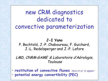 New CRM diagnostics dedicated to convective parameterization J-I Yano P. Bechtold, J.-P. Chaboureau, F. Guichard, J.-L. Redelsperger and J.-P. Lafore LMD,
