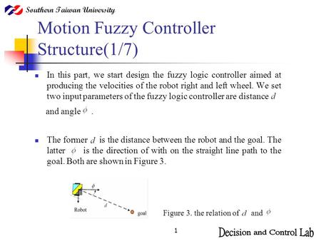 1 Motion Fuzzy Controller Structure(1/7) In this part, we start design the fuzzy logic controller aimed at producing the velocities of the robot right.