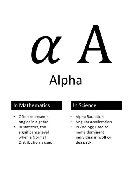 Alpha In Mathematics Often represents angles in algebra. In statistics, the significance level when a Normal Distribution is used. Alpha Radiation Angular.