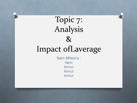 Topic 7: Analysis & Impact ofLaverage Team BRAcct's : Naim Amirul.