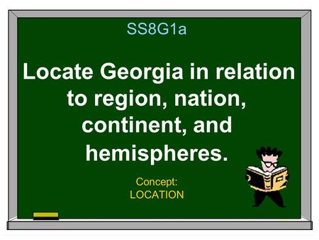 SS8G1a Locate Georgia in relation to region, nation, continent, and hemispheres. Concept: LOCATION.