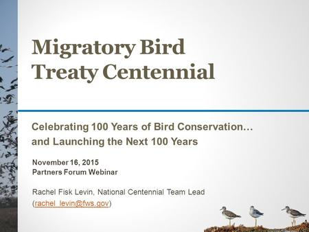 Migratory Bird Treaty Centennial Celebrating 100 Years of Bird Conservation… and Launching the Next 100 Years November 16, 2015 Partners Forum Webinar.