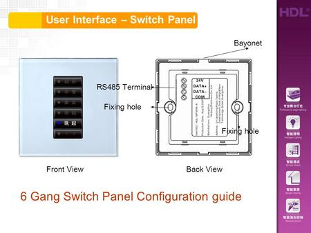 User Interface – Switch Panel 6 Gang Switch Panel Configuration guide RS485 Terminal Fixing hole Bayonet Front ViewBack View.