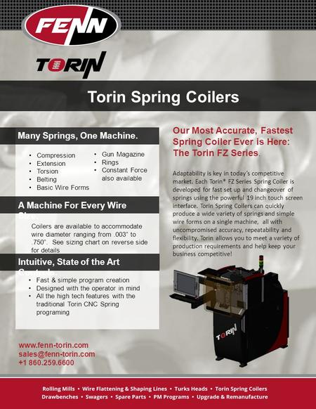 Torin Spring Coilers Compression Extension Torsion Belting Basic Wire Forms Gun Magazine Rings Constant Force also available Our Most Accurate, Fastest.