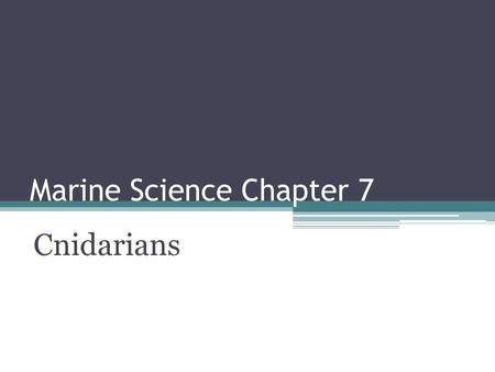 Marine Science Chapter 7 Cnidarians. Cnidaria Animals with stinging tentacles are classified in the phylum Cnidaria. There are more than 9000 species.