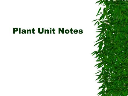 Plant Unit Notes. Plants vs. Animals  Plants are very different from animals. They can't move, they don't have hearts or brains, can't seek shelter.