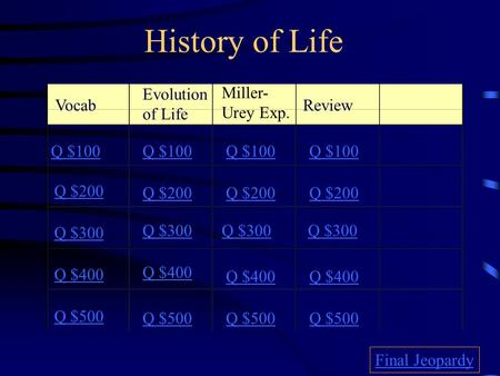 History of Life Vocab Evolution of Life Miller- Urey Exp. Review Q $100 Q $200 Q $300 Q $400 Q $500 Q $100 Q $200 Q $300 Q $400 Q $500 Final Jeopardy.