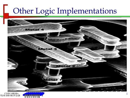 1 Other Logic Implementations. 2 Pass gate/Transmission Gate C=1OUT=A C=0OUT=NO OUTPUT (OPEN CIRCUIT) CMOS TRANSMISSION GATE (TG) NMOS passes good logic.