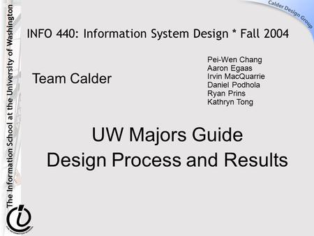 The Information School at the University of Washington INFO 440: Information System Design * Fall 2004 UW Majors Guide Design Process and Results Pei-Wen.