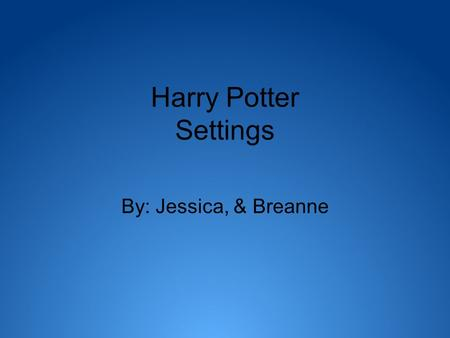 Harry Potter Settings By: Jessica, & Breanne. Muggle World Dursley's house Zoo King's Cross Station.