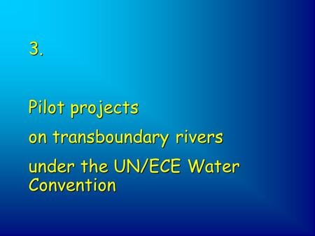 3. Pilot projects on transboundary rivers under the UN/ECE Water Convention.