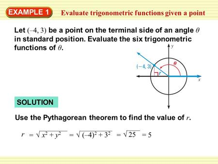 EXAMPLE 1 Evaluate trigonometric functions given a point Let (–4, 3) be a point on the terminal side of an angle θ in standard position. Evaluate the six.